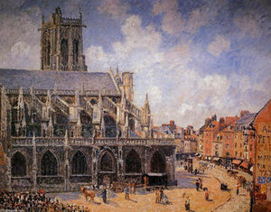 Camille Pissarro - The Church of St Jacques in Dieppe, Morning Sun