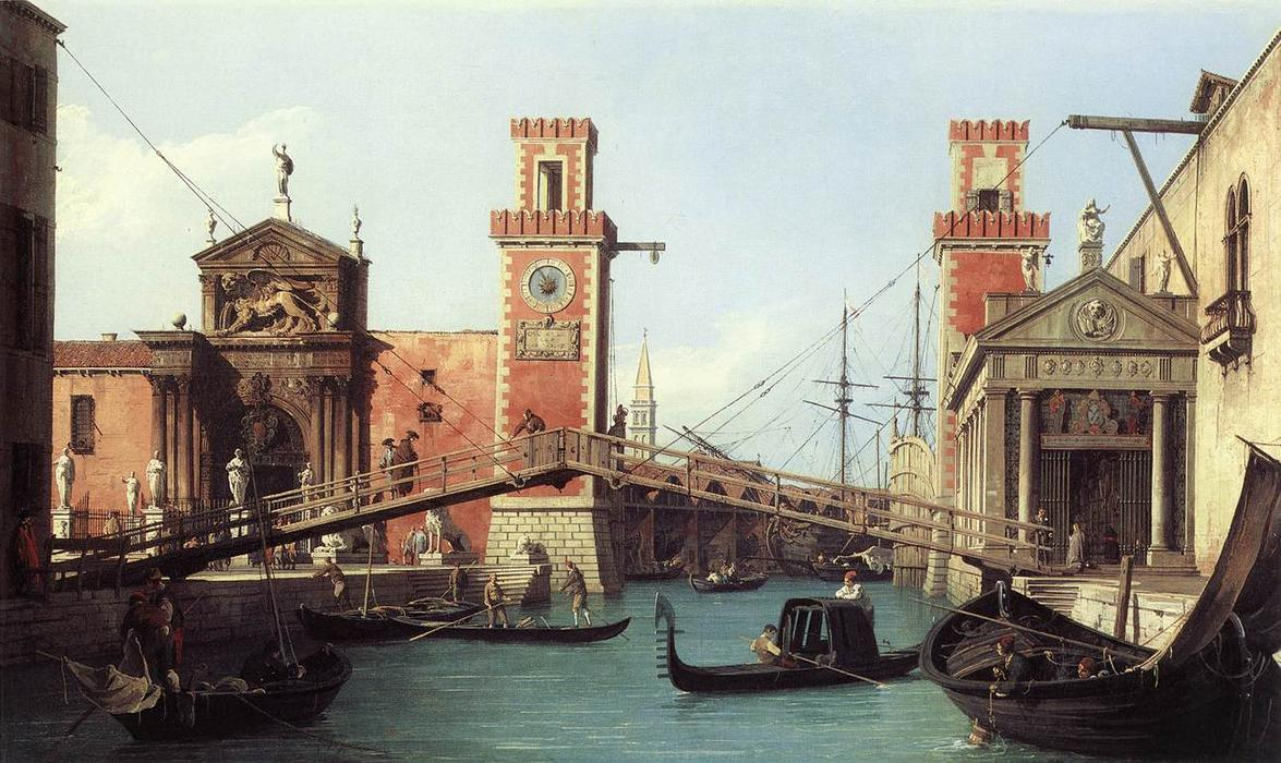 View of the Entrance to the Arsenal, Oil On Canvas by Giovanni Antonio Canal (Canaletto) (1730-1768, Italy)