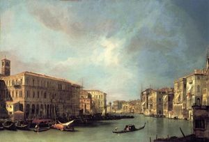 Giovanni Antonio Canal (Canaletto) - Grand Canal Looking North from near the Rialto Bridge