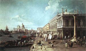 Giovanni Antonio Canal (Canaletto) - The Molo with the Library and the Entrance to the Grand Canal