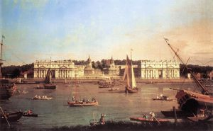 Giovanni Antonio Canal (Canaletto) - London: Greenwich Hospital from the North Bank of the Thames
