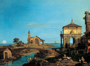 Giovanni Antonio Canal (Canaletto) - An Island in the Lagoon with a Gateway and a Church