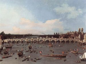 Giovanni Antonio Canal (Canaletto) - Westminster Bridge from the north on Lord Mayor-s Day