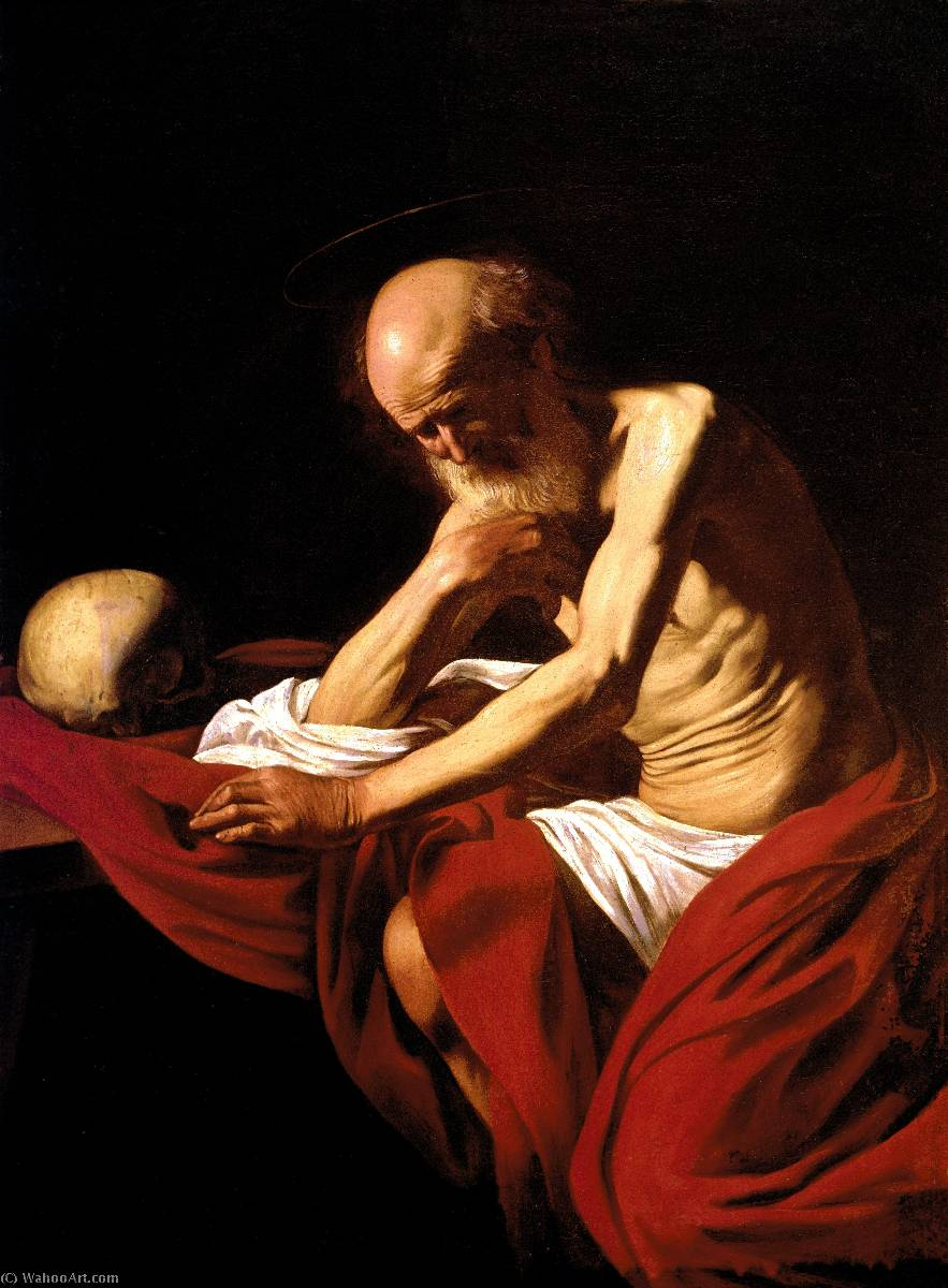 Saint Jerome in Meditation, 1606 by Caravaggio (Michelangelo Merisi) (1571-1610, Spain) | Art Reproduction | WahooArt.com