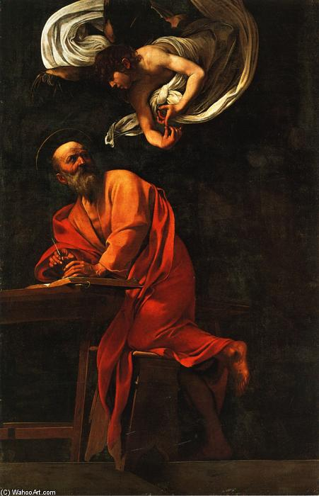 Inspiration of Saint Matthew, Oil On Canvas by Caravaggio (Michelangelo Merisi) (1571-1610, Italy)