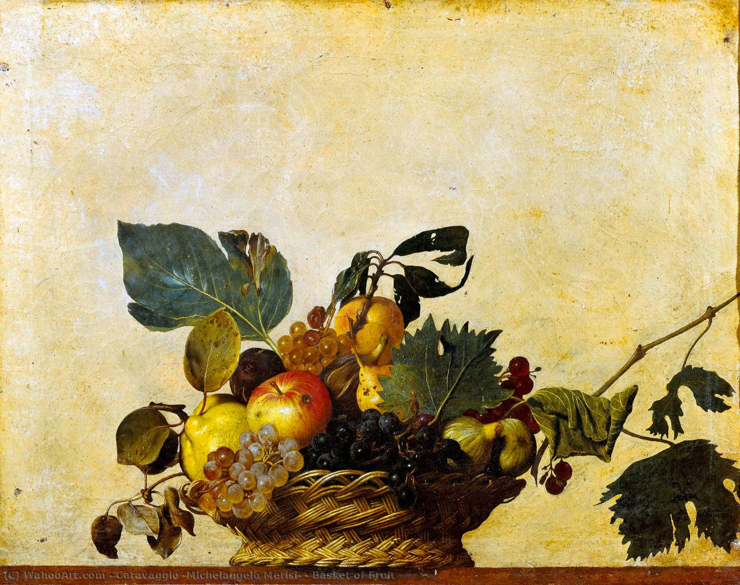 Basket of Fruit, 1596 by Caravaggio (Michelangelo Merisi) (1571-1610, Spain) | Paintings Reproductions Caravaggio (Michelangelo Merisi) | WahooArt.com