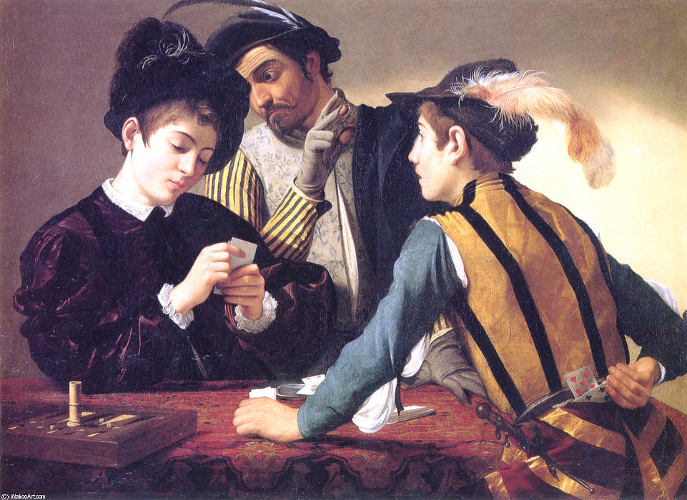 Cardsharps, Oil On Canvas by Caravaggio (Michelangelo Merisi) (1571-1610, Spain)