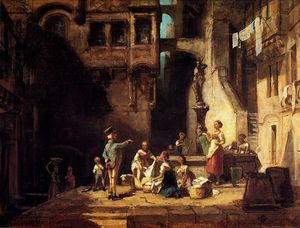 Carl Spitzweg - Washerwomen at the Well