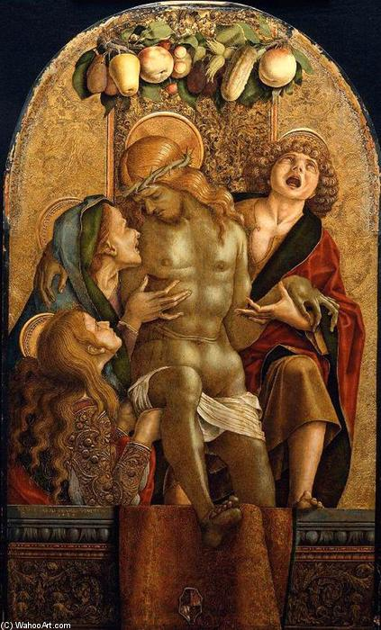 Lamentation over the Dead Christ, Tempera by Carlo Crivelli (1435-1495, Italy)