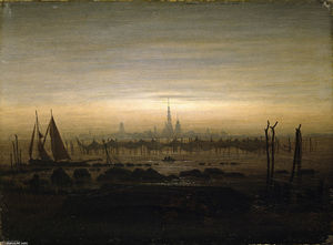 Caspar David Friedrich - Greifswald in moonlight