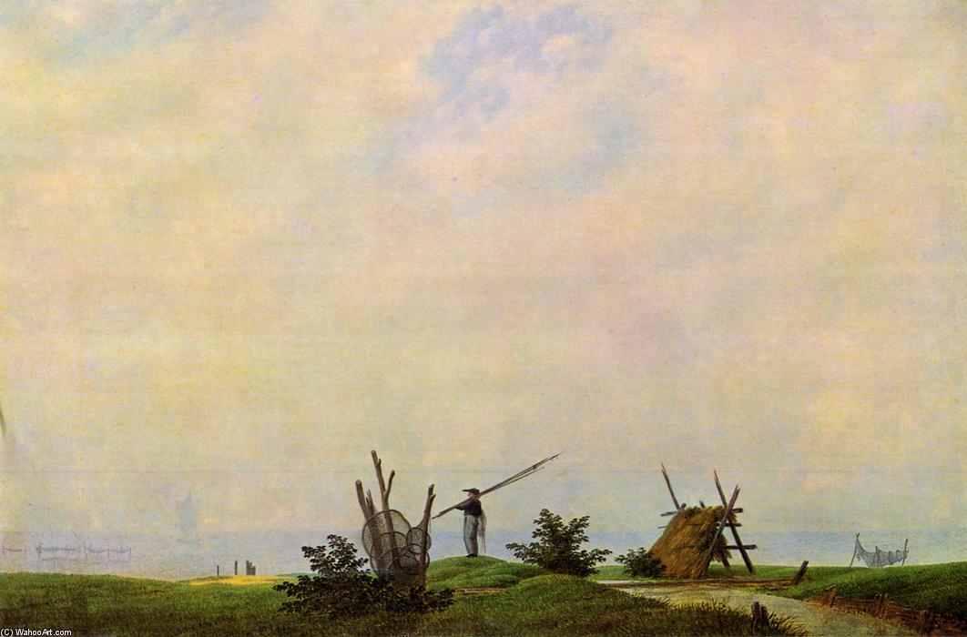 Sea beach with fisherman (The fisherman), Oil On Canvas by Caspar David Friedrich