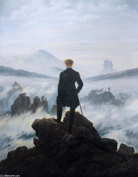 The wanderer above the sea of fog, Oil On Canvas by Caspar David Friedrich (1774-1840, Germany)