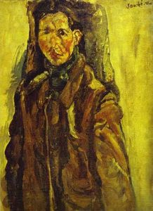 Chaim Soutine - Self Portrait by Curtain