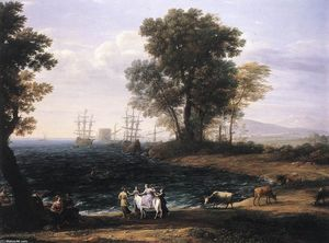Claude Lorrain (Claude Gellée) - Coast Scene with the Rape of Europa