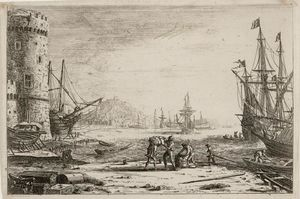 Claude Lorrain (Claude Gellée) - Seaport with a big tower