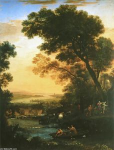 Claude Lorrain (Claude Gellée) - Landscape with Flight into Egypt