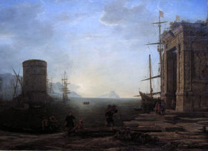 Claude Lorrain (Claude Gellée) - Harbour view at sunrise