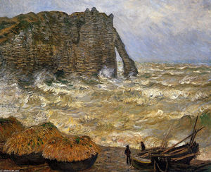 Claude Monet - Rough Sea at Etretat