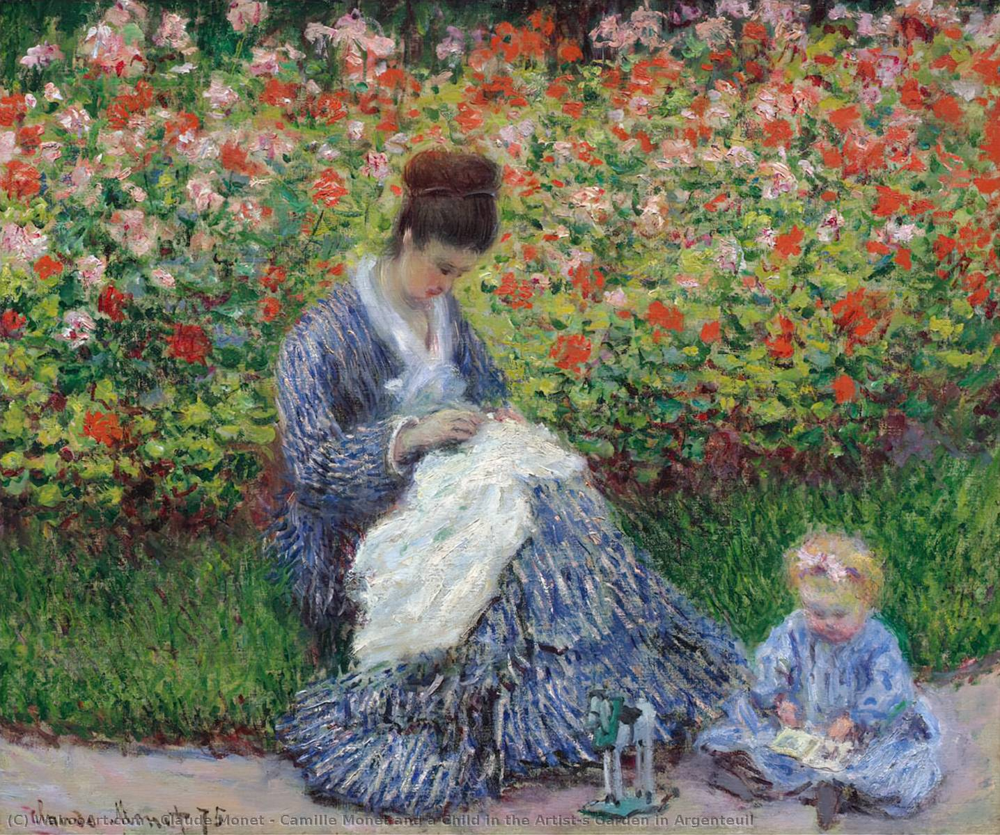 Camille Monet and a Child in the Artist's Garden in Argenteuil, 1875 by Claude Monet (1840-1926, France) | WahooArt.com