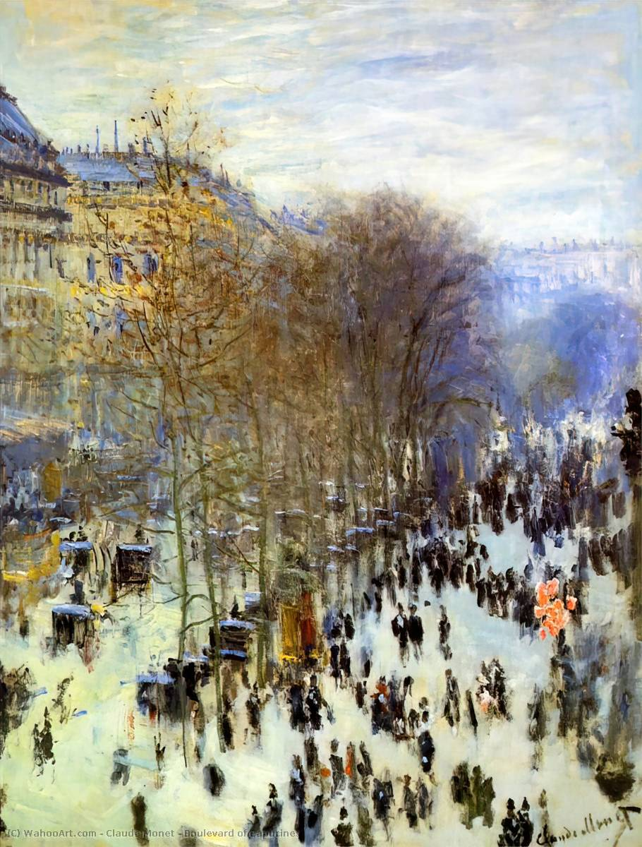 Boulevard of Capucines, Oil On Canvas by Claude Monet (1840-1926, France)