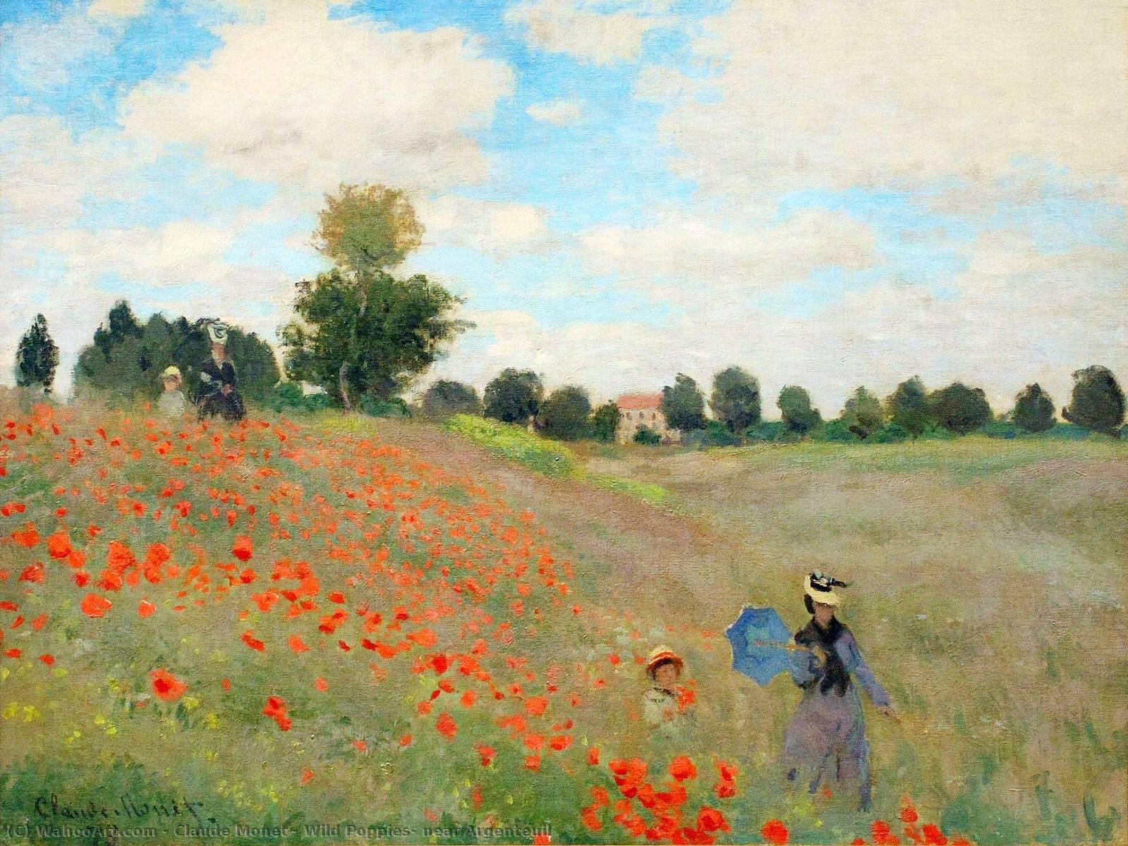 Wild Poppies, near Argenteuil, 1873 by Claude Monet (1840-1926, France) | Oil Painting | WahooArt.com