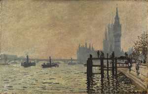 Claude Monet - The Thames below Westminster - (Famous paintings reproduction)