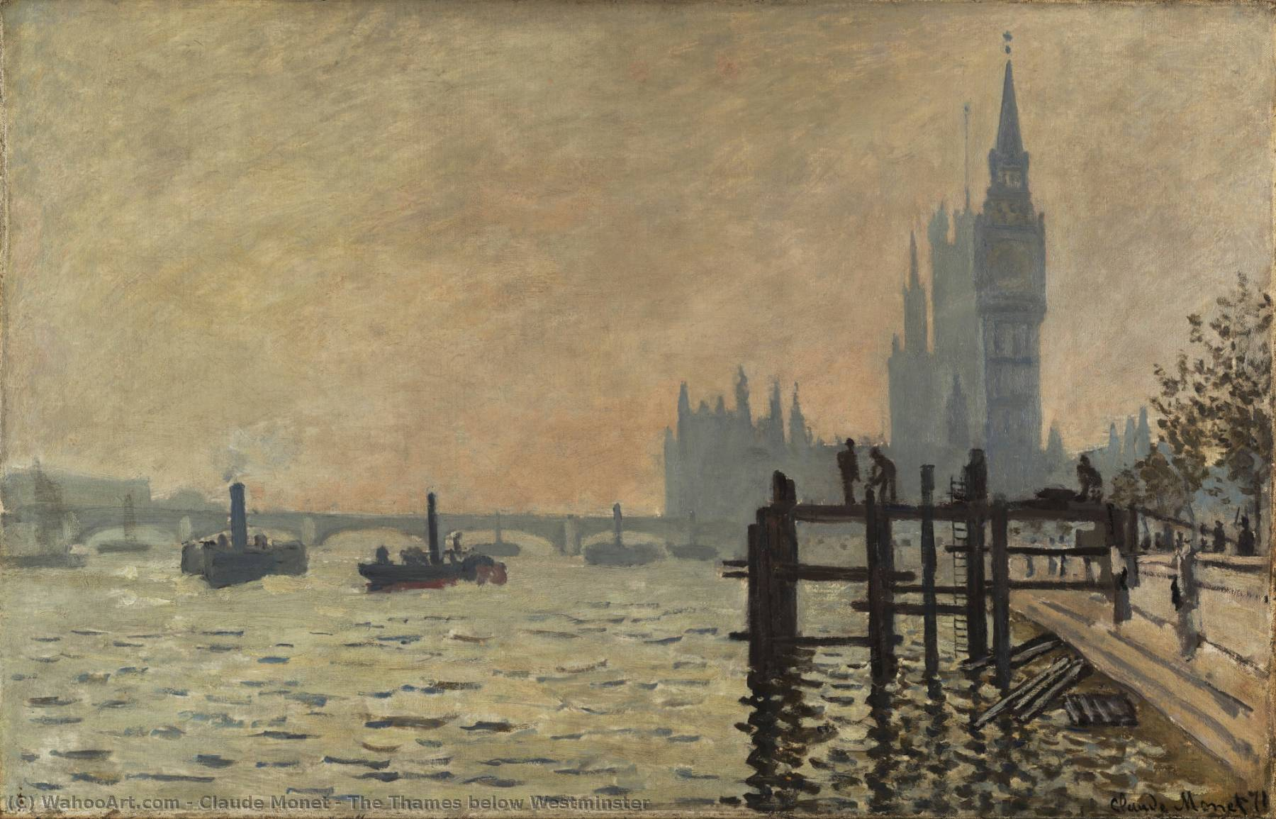 The Thames below Westminster, Oil On Canvas by Claude Monet (1840-1926, France)