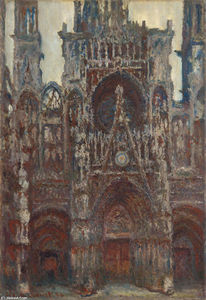 Claude Monet - Rouen Cathedral, evening, harmony in brown