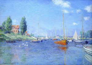 Claude Monet - Red Boats, Argenteuil, 1875 (oil on canvas) - (Famous paintings reproduction)