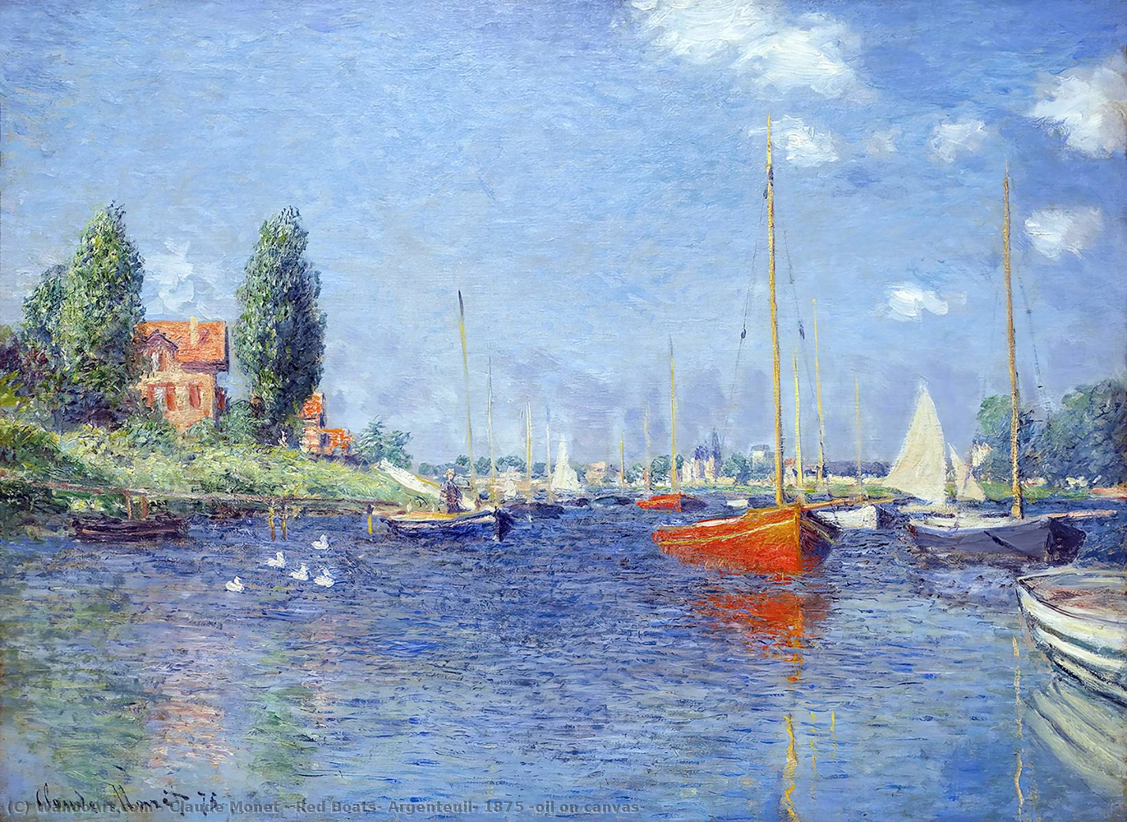 Red Boats, Argenteuil, 1875 (oil on canvas), Oil On Canvas by Claude Monet (1840-1926, France)