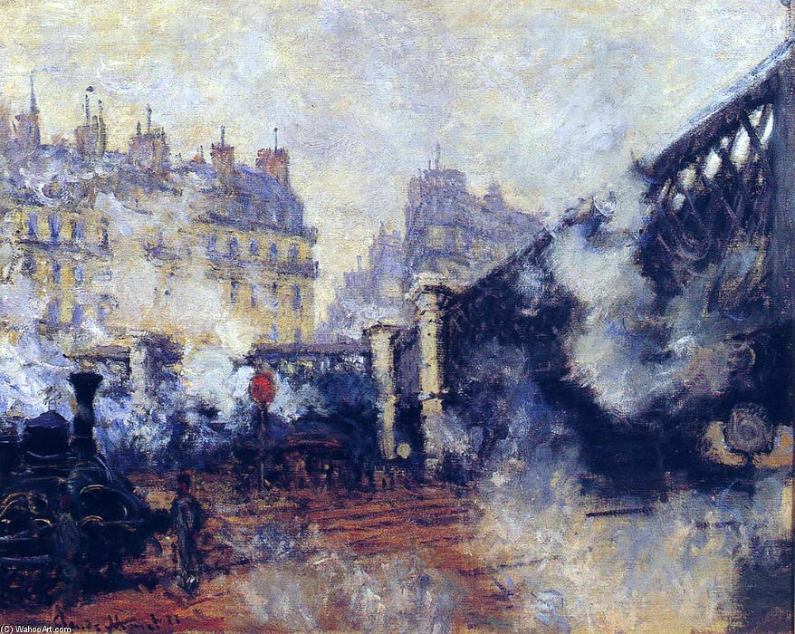 The Pont de l'Europe, Gare Saint-Lazare, Oil On Canvas by Claude Monet (1840-1926, France)