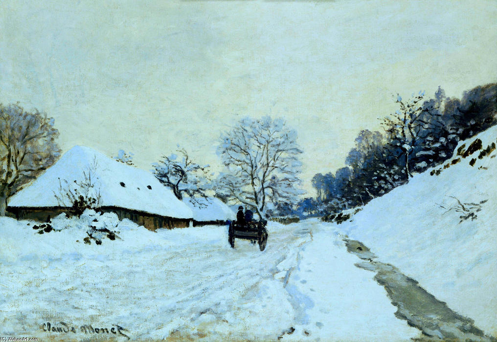 Order Famous Paintings Reproductions : Cart on the Snow Covered Road with Saint-Simeon Farm, 1865 by Claude Monet (1840-1926, France) | WahooArt.com