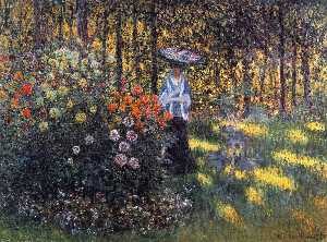 Claude Monet - Woman with a Parasol in the Garden in Argenteuil - (Famous paintings reproduction)
