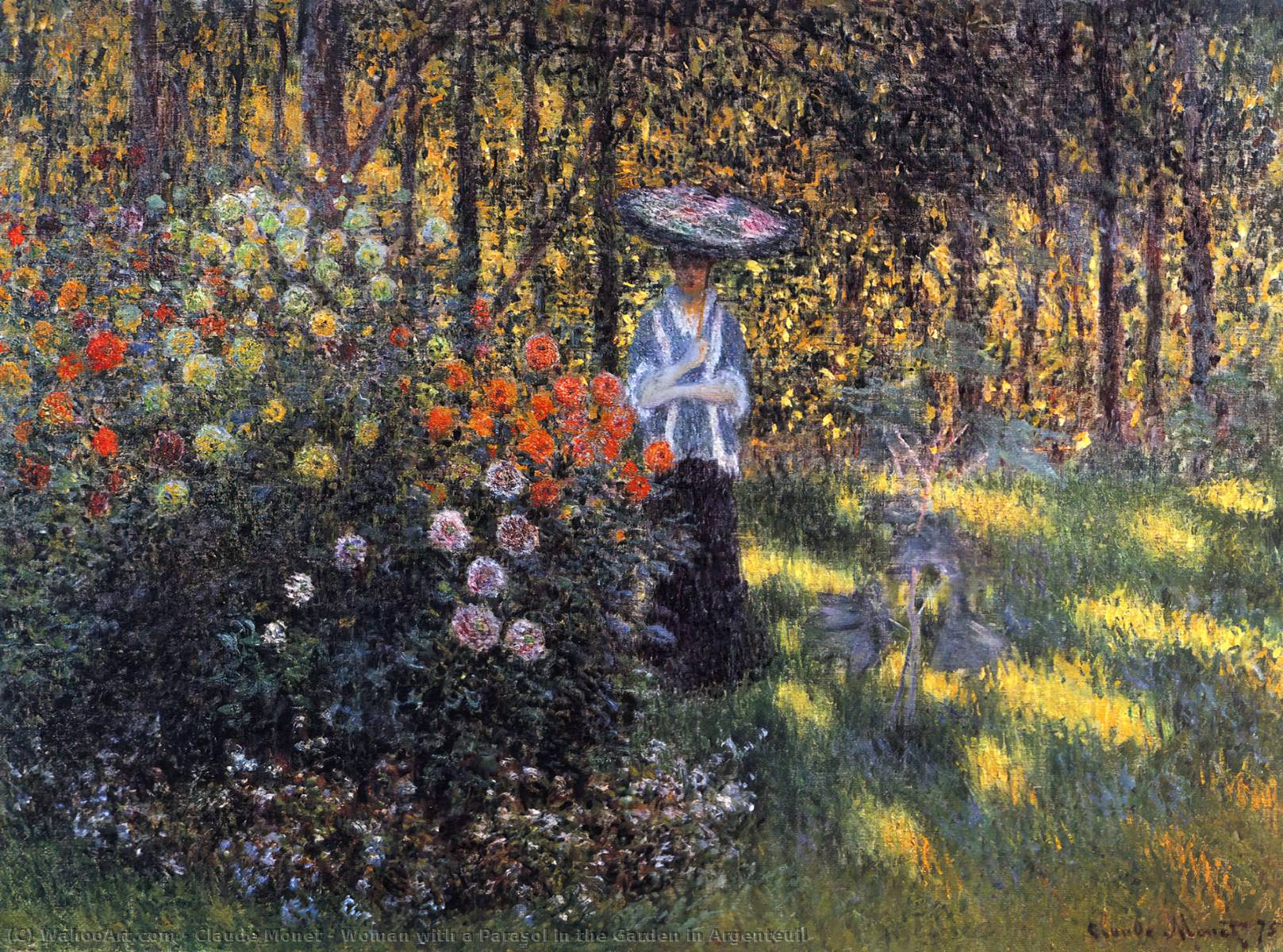 Woman with a Parasol in the Garden in Argenteuil, 1875 by Claude Monet (1840-1926, France) | Oil Painting | WahooArt.com