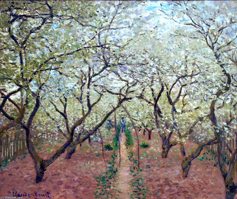 Orchard in Bloom, 1879 by Claude Monet (1840-1926, France) | Museum Quality Reproductions | WahooArt.com