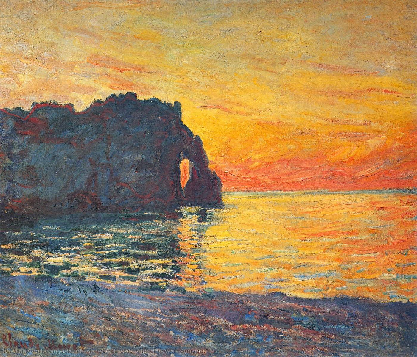 Etretat, Cliff of d`Aval, Sunset, 1885 by Claude Monet (1840-1926, France) | Oil Painting | WahooArt.com
