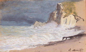 Claude Monet - The Manneport, Etretat - Amont Cliff, Rough Weather