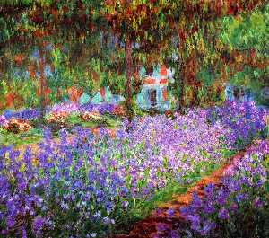Order Art Reproductions | Irises in Monet`s Garden, 1900 by Claude Monet (1840-1926, France) | WahooArt.com