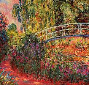 Claude Monet - The Japanese Bridge (The Water-Lily Pond, Water Irises) - (Famous paintings reproduction)