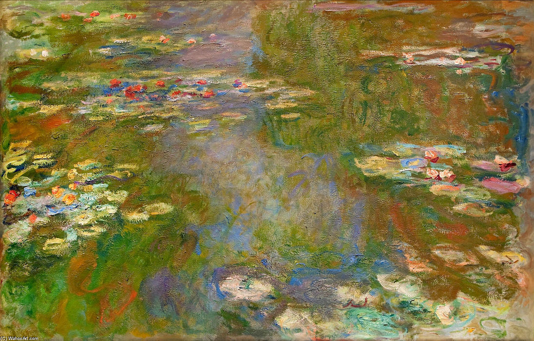 Water Lilies (70), 1919 by Claude Monet (1840-1926, France) | Museum Art Reproductions Claude Monet | WahooArt.com