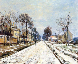 Claude Monet - Snow Effect, The Road to Louveciennes