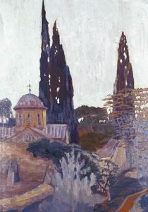 Konstantinos Maleas - Church with Cypress