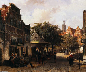 Cornelis Springer - View of Oudewater
