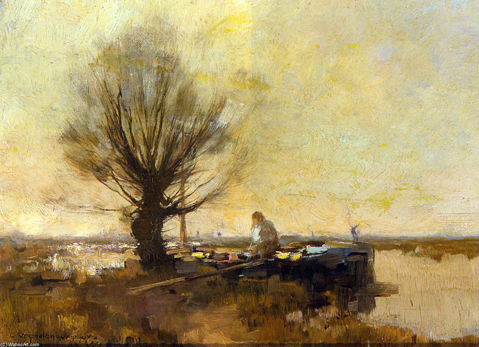 A Peasant in a Moored Barge, Oil On Panel by Cornelis Vreedenburgh (1880-1946, Netherlands)
