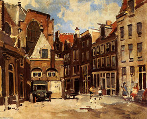 Cornelis Vreedenburgh - A Townscene With Children At Play, Haarlem