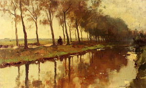 Buy Museum Art Reproductions | A Peasant Woman On A Path Along A Canal, 1907 by Cornelis Vreedenburgh (1880-1946, Netherlands) | WahooArt.com