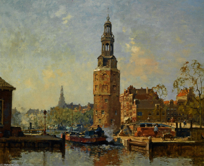 Order Paintings Reproductions | A View of the Montelbaanstoren Amsterdam, 1925 by Cornelis Vreedenburgh (1880-1946, Netherlands) | WahooArt.com