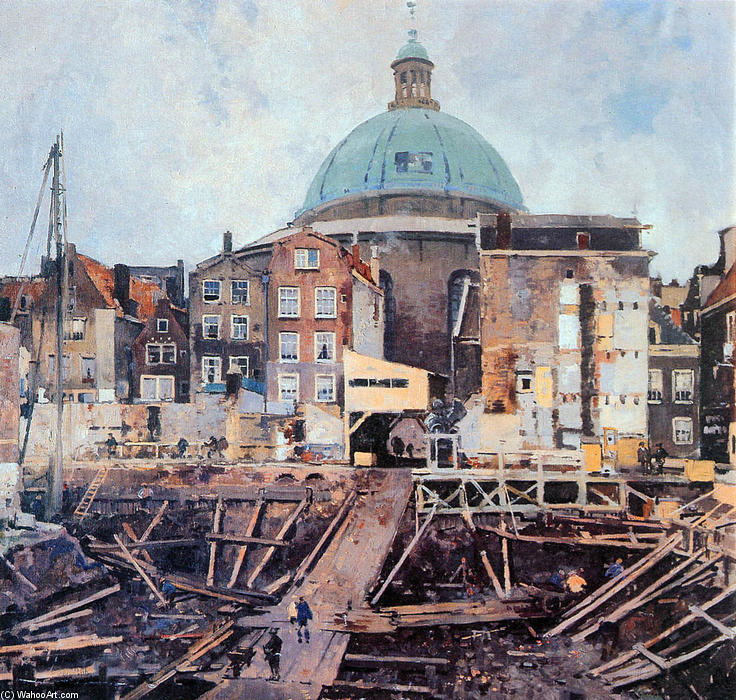 Building Well With Church Amsterdam by Cornelis Vreedenburgh (1880-1946, Netherlands) | Art Reproductions Cornelis Vreedenburgh | WahooArt.com