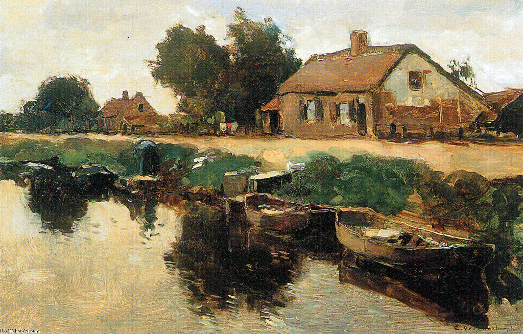 Farm Along The Canal by Cornelis Vreedenburgh (1880-1946, Netherlands) | Museum Quality Reproductions | WahooArt.com