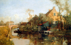 Cornelis Vreedenburgh - Farm next to canal